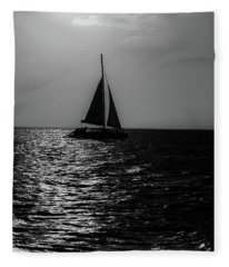 Sailing Into The Sunset Black And White Fleece Blanket
