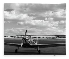 Silver Airplane Duxford England Fleece Blanket