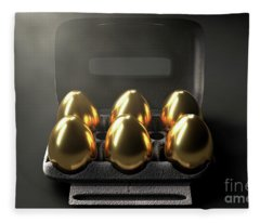 Six Golden Eggs In An Egg Carton Fleece Blanket