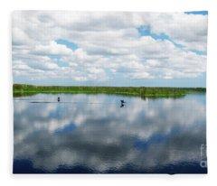 Skyscape Reflections Blue Cypress Marsh Near Vero Beach Florida C6 Fleece Blanket