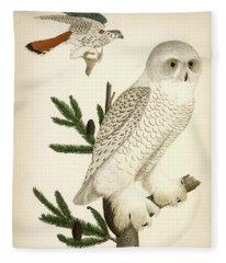 1. Snow Owl. 2. Male Sparrow-hawk. Fleece Blanket