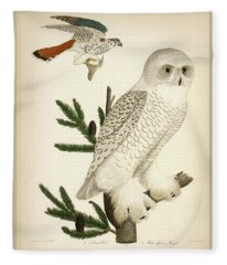 1. Snow Owl. 2. Male Sparrow-hawk. Fleece Blanket