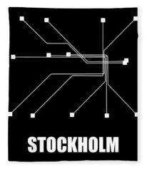 Stockholm Black Subway Map Fleece Blanket