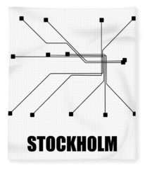 Stockholm White Subway Map Fleece Blanket