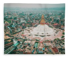 Fleece Blanket featuring the photograph Stupa Temple Bodhnath Kathmandu, Nepal From Air October 12 2018 by Raimond Klavins