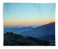 Sunrise Above Mountain In Valley Himalayas Mountains Mardi Himal Fleece Blanket