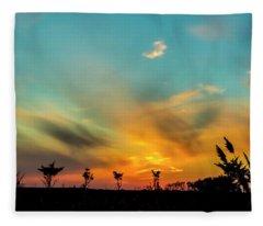 Sunset Silhouettes Fleece Blanket