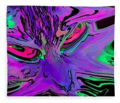 Super Duper Crazy Cat Purple Fleece Blanket