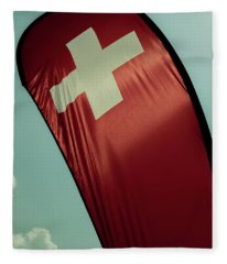 Fleece Blanket featuring the photograph Swiss Flag by Mats Silvan