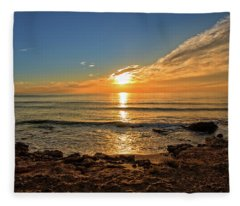 The Calm Sea In A Very Cloudy Sunset Fleece Blanket
