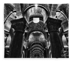 The Cathedral Of Our Lady Immaculate, Monaco Bw Fleece Blanket
