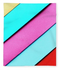 Trendy Pastel Colors In Geometry Shape Flat Lay. Colorful Rainbo Fleece Blanket