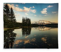 Two Jack Lake And Mount Rundle Fleece Blanket