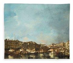 Venice, A View Of The Rialto Bridge, Looking North, From The Fondamenta Del Carbon Fleece Blanket