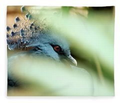Victoria Crowned Pigeon Fleece Blanket