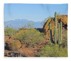 Fleece Blanket featuring the photograph View To Four Peaks  by Lynda Lehmann