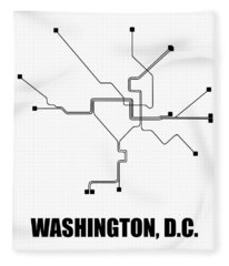 Washington, D.c. White Subway Map Fleece Blanket