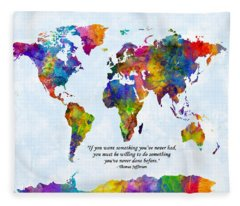 Watercolor World Map Custom Text Added Fleece Blanket