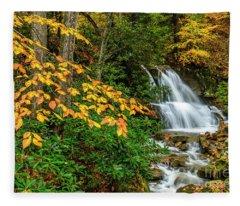 Waterfall And Fall Color Fleece Blanket