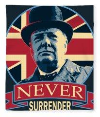 Winston Churchill Never Surrender Fleece Blanket