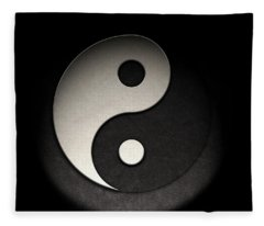 Fleece Blanket featuring the photograph Yin Yang Symbol Leather Texture by Brian Carson