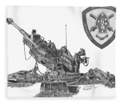 10th Marines 777 Fleece Blanket