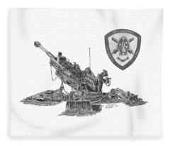 10th Marines 777 Fleece Blanket