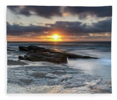 A Moody Sunrise Seascape Fleece Blanket