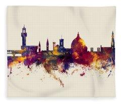 Florence Italy Skyline Fleece Blanket