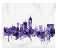 Indianapolis Indiana Skyline Fleece Blanket