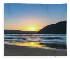 Hazy Sunrise Seascape Fleece Blanket