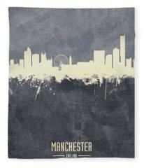 Manchester England Skyline Fleece Blanket