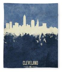 Cleveland Ohio Skyline Fleece Blanket