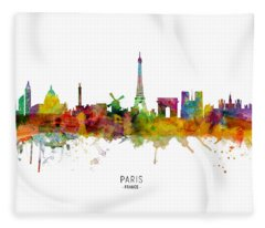 Paris Skyline Fleece Blankets