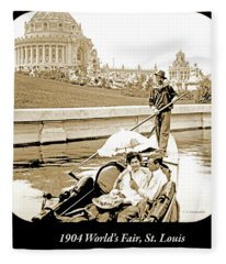 1904 Worlds Fair, Sighteeing Boat, Oarsman And Couple Fleece Blanket
