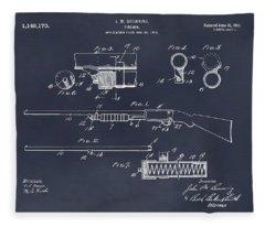 1913 Remington Model 17 Pump Shotgun Blackboard Patent Print Fleece Blanket