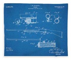 1913 Remington Model 17 Pump Shotgun Blueprint Patent Print Fleece Blanket