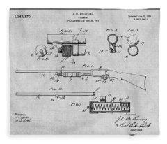 1913 Remington Model 17 Pump Shotgun Gray Patent Print Fleece Blanket