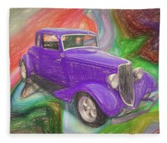 1934 Ford Colored Pencil Fleece Blanket