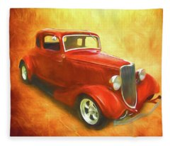 1934 Ford On Fire Fleece Blanket