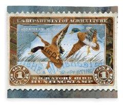 1934 Hunting Stamp Collage Fleece Blanket