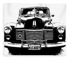 1941 Cadillac Front Blk Fleece Blanket
