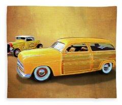 1949 Woody And 1932 Roadster Fleece Blanket