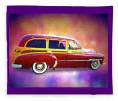 1951 Chevy Woody Sideview Fleece Blanket