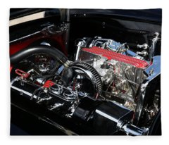 1957 Chevrolet Corvette Engine Fleece Blanket