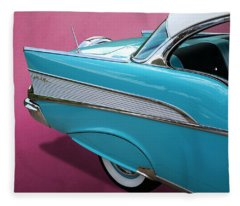 Turquoise 1957 Chevrolet Bel Air Fleece Blanket