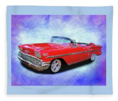 1958 Red Chevy Convertable Fleece Blanket