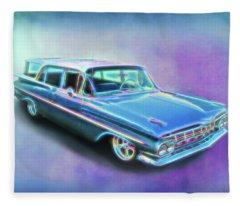 1959 Chevy Wagon Fleece Blanket