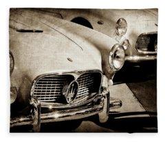1960 Maserati Grille Emblem-1098scl3 Fleece Blanket