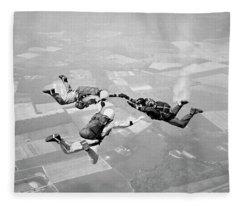 1970s Three Men Holding Hands Sky Diving Fleece Blanket